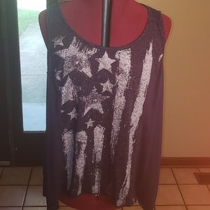 Style & Co Womens Blue Tank Size Large